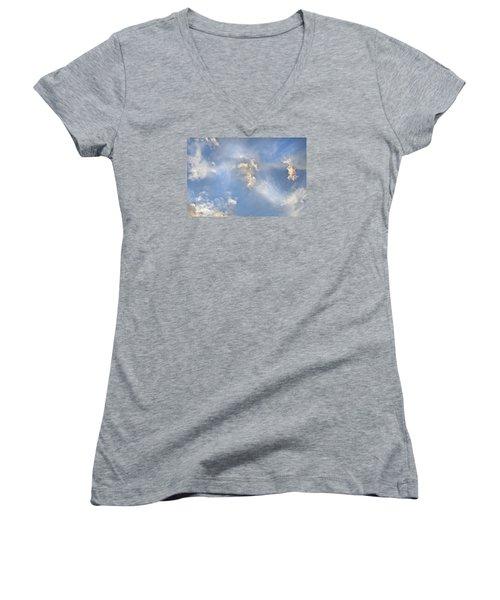 Dancing Clouds Women's V-Neck T-Shirt (Junior Cut) by Wanda Krack