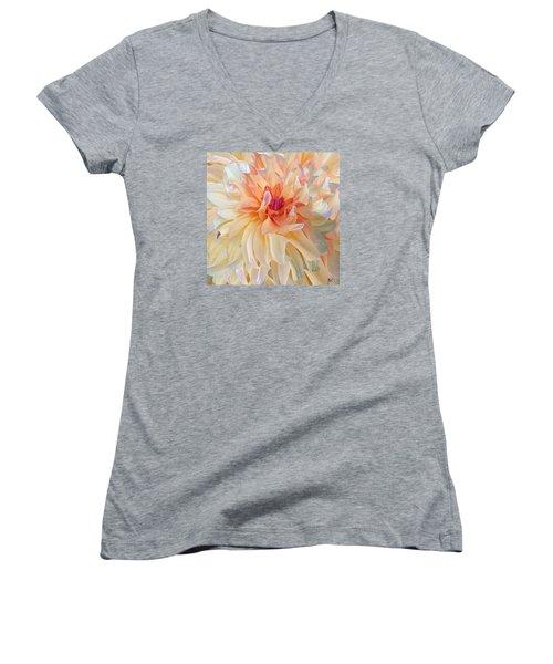 Dancing Dahlia Women's V-Neck T-Shirt (Junior Cut) by Michele Avanti