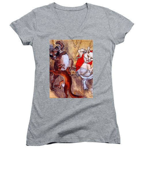Japanese Meiji Period Dancing Feral Cat With Wild Animal Friends Women's V-Neck (Athletic Fit)