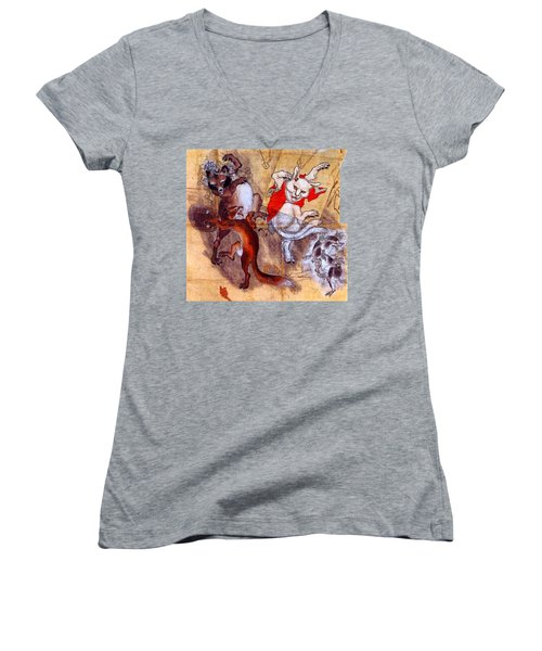 Japanese Meiji Period Dancing Feral Cat With Wild Animal Friends Women's V-Neck T-Shirt (Junior Cut)