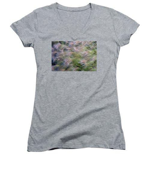 Dancing Foxtail Grass Women's V-Neck T-Shirt