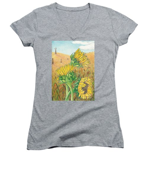 Dancing In The Breeze  Women's V-Neck T-Shirt (Junior Cut) by Vicki  Housel