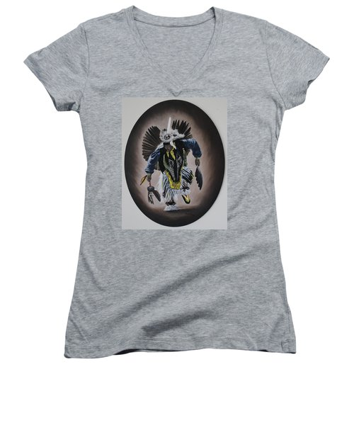 Women's V-Neck T-Shirt (Junior Cut) featuring the painting Dancing In The Spirit by Michael  TMAD Finney