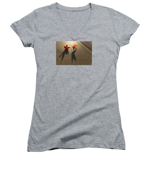 Women's V-Neck T-Shirt (Junior Cut) featuring the photograph Dancing Leaves by Lora Lee Chapman