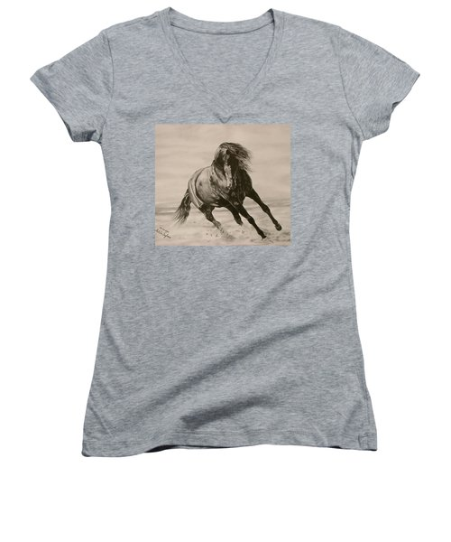 Women's V-Neck T-Shirt (Junior Cut) featuring the drawing Dancing Pace by Melita Safran