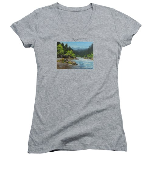 Women's V-Neck T-Shirt (Junior Cut) featuring the painting Dancing River by Karen Ilari