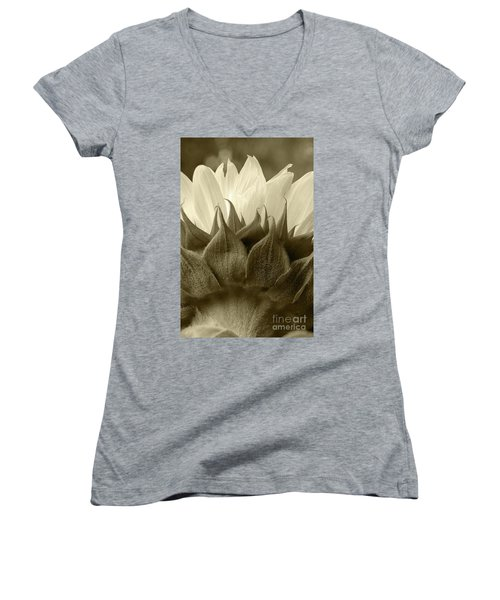 Women's V-Neck T-Shirt (Junior Cut) featuring the photograph Dandelion In Sepia by Micah May