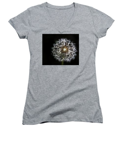 Women's V-Neck T-Shirt (Junior Cut) featuring the photograph Dandelion Seed by Darcy Michaelchuk