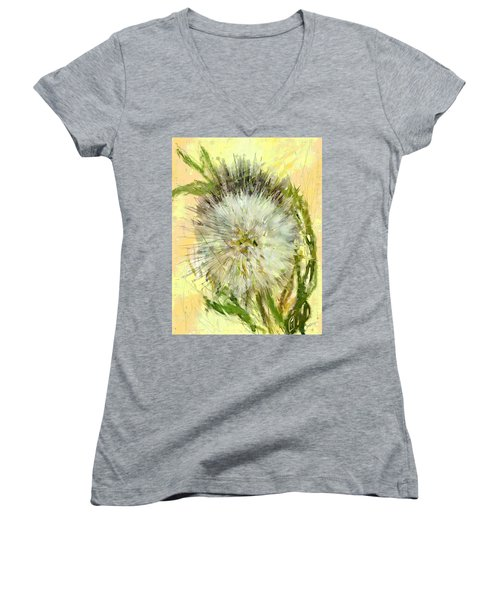 Women's V-Neck T-Shirt (Junior Cut) featuring the drawing Dandelion Sunshower by Desline Vitto