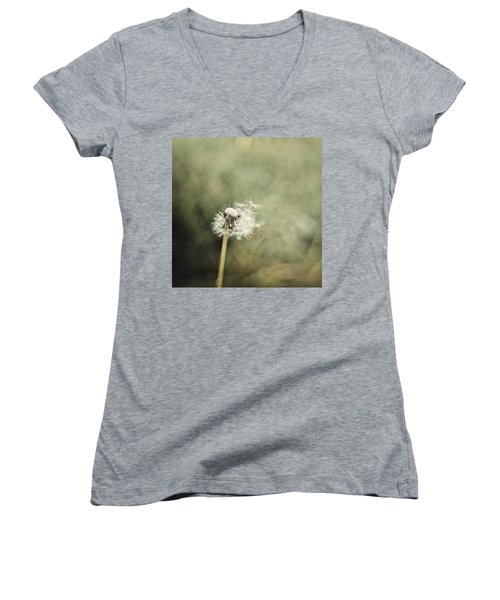 Dandelion  #lensbaby #composerpro Women's V-Neck T-Shirt (Junior Cut) by Mandy Tabatt