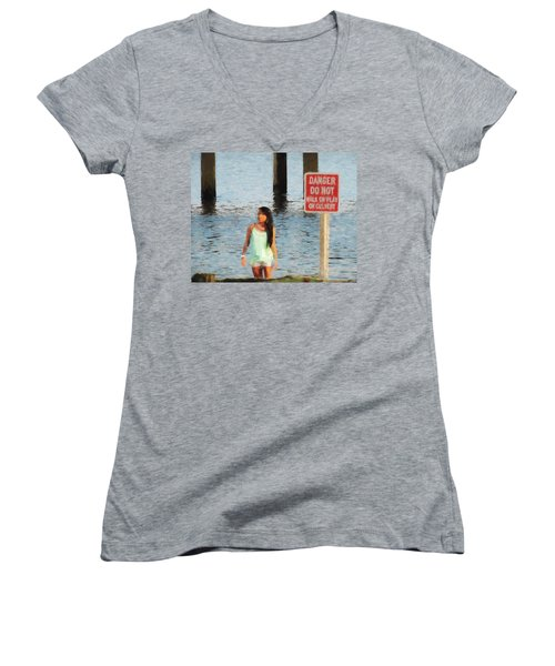 Danger Women's V-Neck T-Shirt