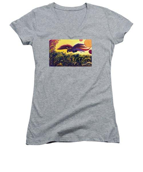 Dangerous Waters Women's V-Neck T-Shirt (Junior Cut) by Ania M Milo