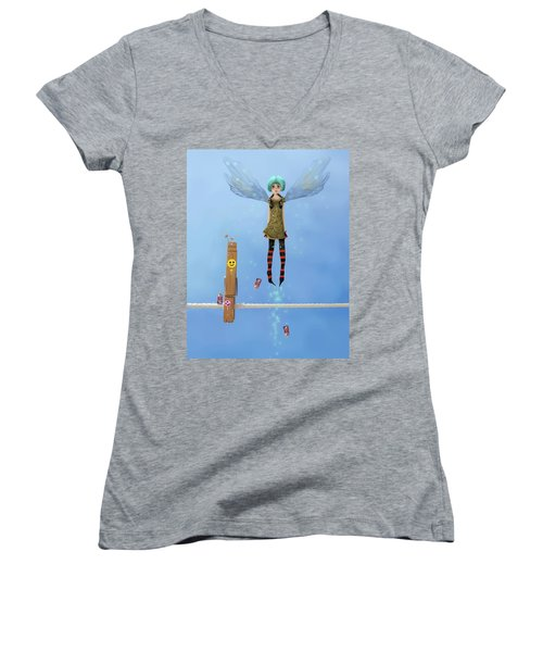 Danksy, Caught In The Act. Women's V-Neck (Athletic Fit)