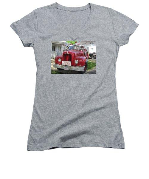 Danvers - Old Fire Engine Women's V-Neck T-Shirt (Junior Cut) by Paul Meinerth