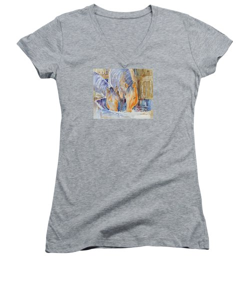Women's V-Neck T-Shirt (Junior Cut) featuring the painting Dappled Sunlight by Mary Haley-Rocks