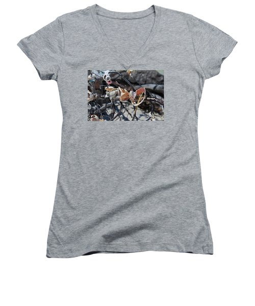 Women's V-Neck T-Shirt featuring the photograph Dare To Touch by Michiale Schneider