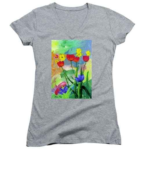 Women's V-Neck T-Shirt (Junior Cut) featuring the painting Daria's Flowers by Jamie Frier