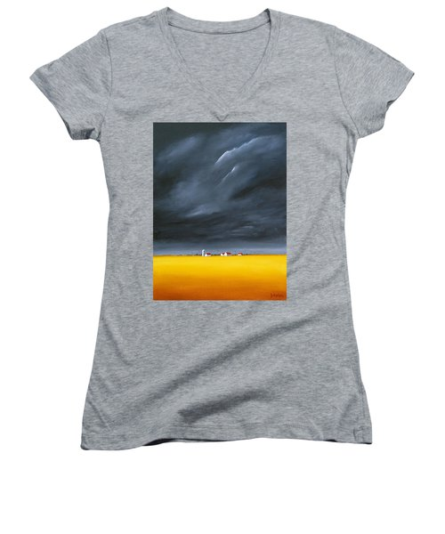 Women's V-Neck T-Shirt (Junior Cut) featuring the painting Dark And Stormy by Jo Appleby