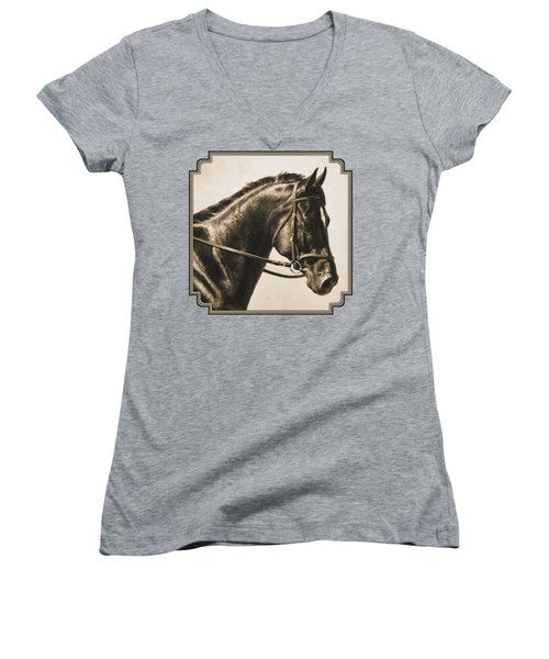 Dark Bay Dressage Horse Aged Photo Fx Women's V-Neck (Athletic Fit)