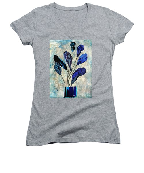 Dark Blue Women's V-Neck T-Shirt (Junior Cut) by Sarah Loft