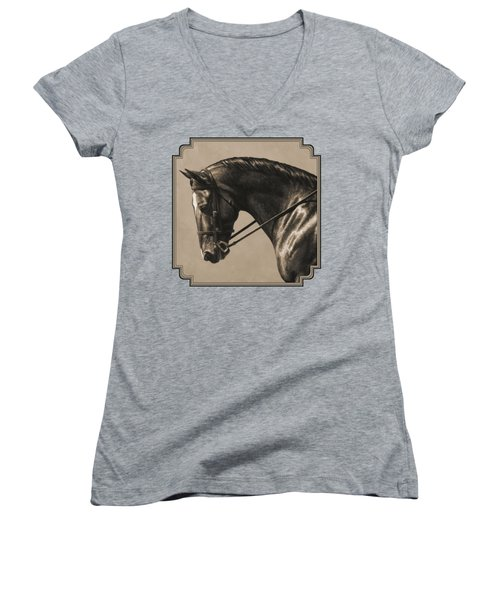 Dark Dressage Horse Aged Photo Fx Women's V-Neck
