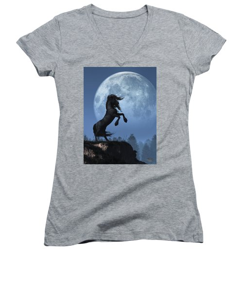 Dark Horse And Full Moon Women's V-Neck (Athletic Fit)