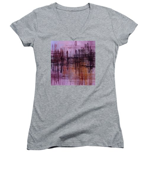 Women's V-Neck T-Shirt (Junior Cut) featuring the painting Dark Lines Abstract And Minimalist Painting by Ayse Deniz