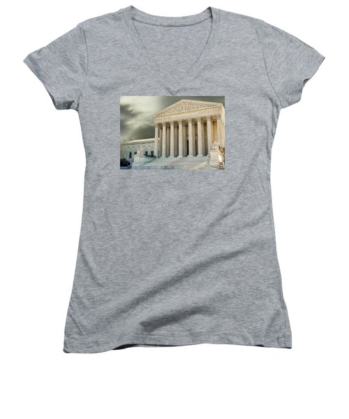 Dark Skies Above Supreme Court Of Justice Women's V-Neck T-Shirt (Junior Cut) by Patricia Hofmeester