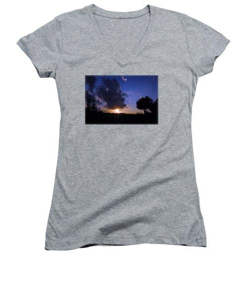 Dark Sunset T-shirt 2 Women's V-Neck T-Shirt (Junior Cut) by Isam Awad