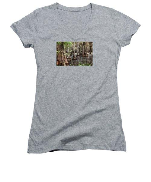 Dark Swamp Women's V-Neck T-Shirt (Junior Cut) by Ester  Rogers