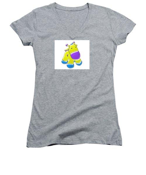 Women's V-Neck T-Shirt (Junior Cut) featuring the digital art Darling Calf Cartoon by Karen Nicholson