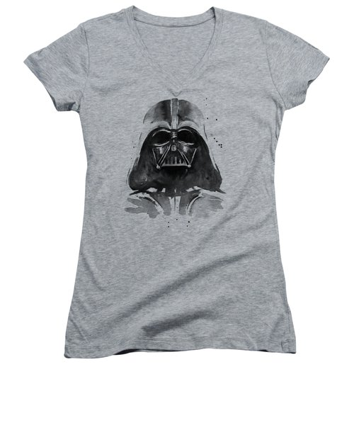Darth Vader Watercolor Women's V-Neck T-Shirt (Junior Cut) by Olga Shvartsur