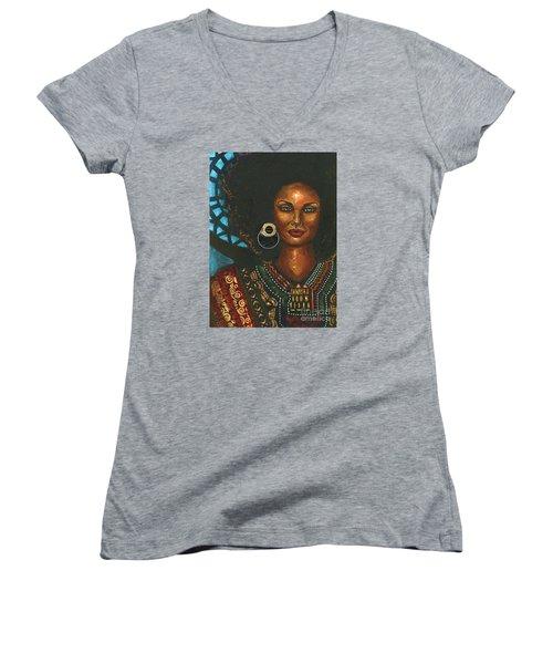 Dashiki Women's V-Neck T-Shirt (Junior Cut) by Alga Washington