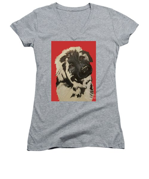 Women's V-Neck T-Shirt (Junior Cut) featuring the painting Date With Paint Sept 18 5 by Ania M Milo