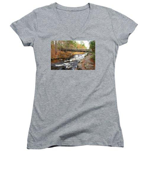 Women's V-Neck T-Shirt (Junior Cut) featuring the photograph Dave's Falls #7480 by Mark J Seefeldt