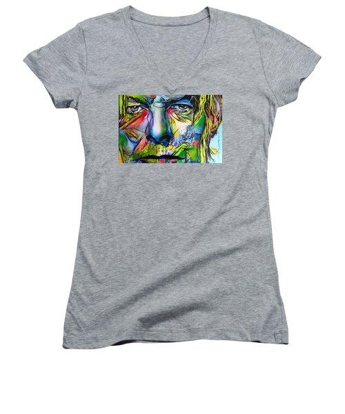 David Bowie Women's V-Neck T-Shirt (Junior Cut) by Eric Dee