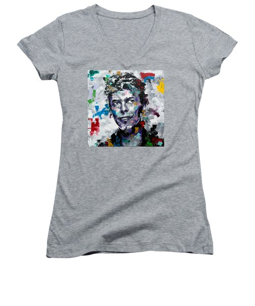Women's V-Neck T-Shirt (Junior Cut) featuring the painting David Bowie II by Richard Day
