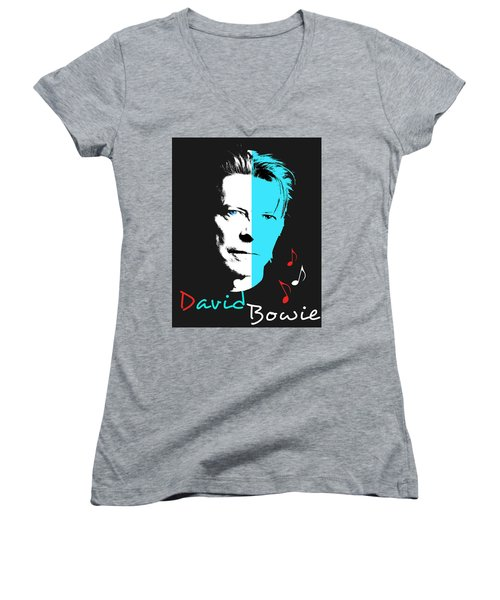 David Bowie Women's V-Neck (Athletic Fit)