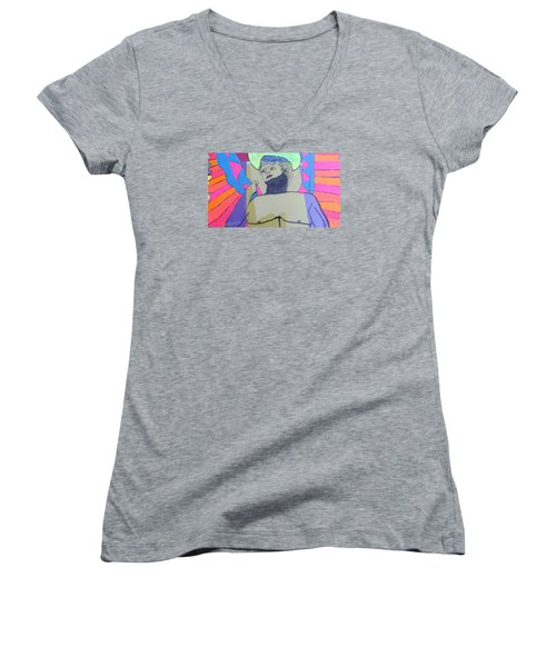 Women's V-Neck T-Shirt (Junior Cut) featuring the painting David The Archangel by Don Koester