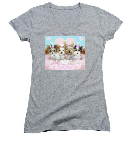Davidson's Furbabies Women's V-Neck T-Shirt (Junior Cut) by Catia Cho