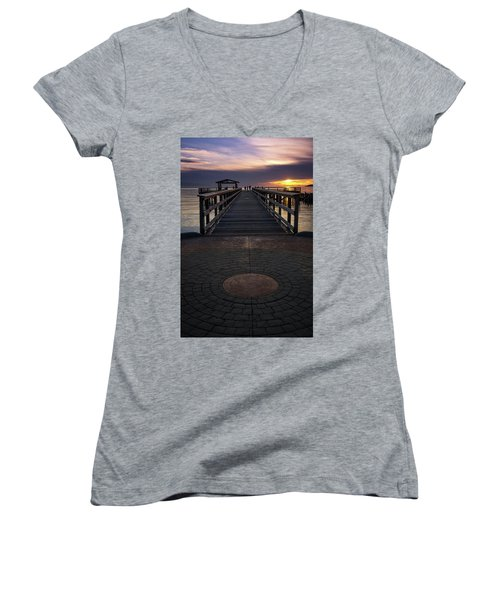 Davis Bay Pier Evening Light Women's V-Neck T-Shirt