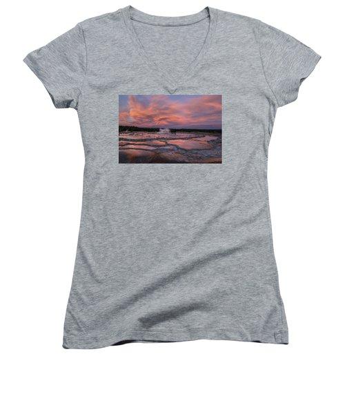 Women's V-Neck T-Shirt (Junior Cut) featuring the photograph Dawn At Great Fountain Geyser by Roman Kurywczak