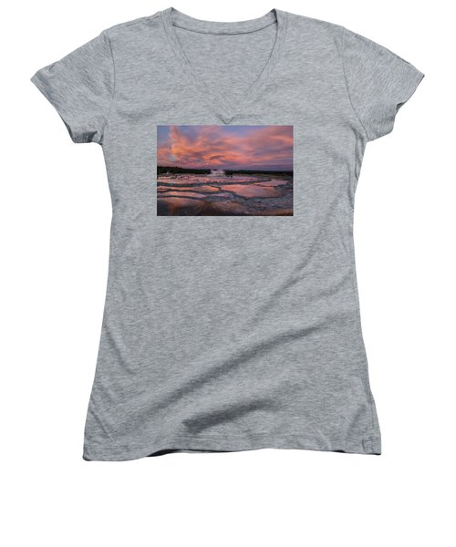 Dawn At Great Fountain Geyser Women's V-Neck (Athletic Fit)