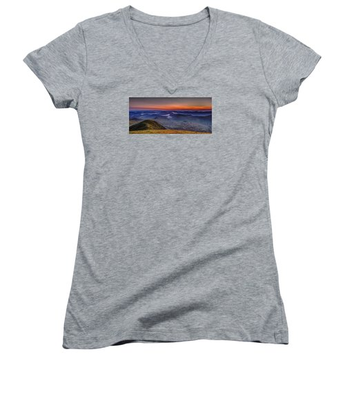 Dawn At The Merrick Summit Women's V-Neck (Athletic Fit)