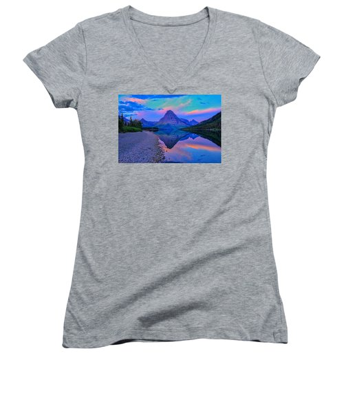 Dawn At Two Medicine Lake Women's V-Neck T-Shirt (Junior Cut) by Greg Norrell