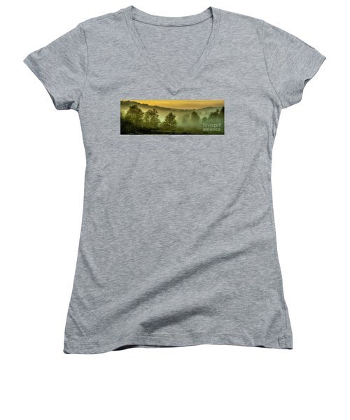 Women's V-Neck T-Shirt (Junior Cut) featuring the photograph Dawn At Wildlife Management Area by Thomas R Fletcher