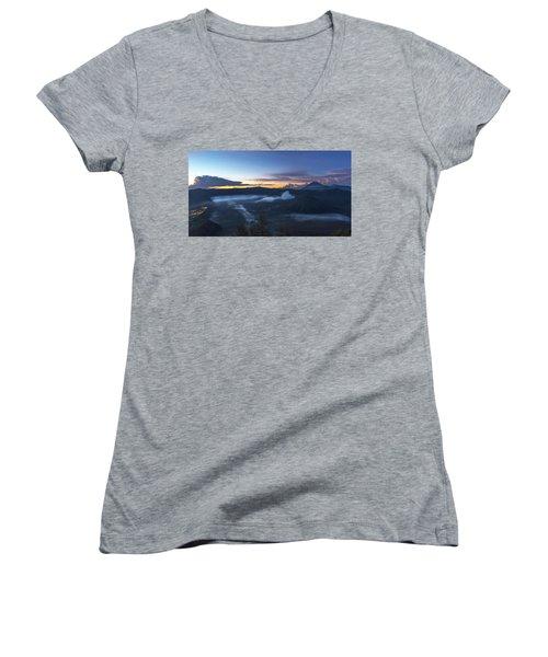 Dawn Breaking Scene Of Mt Bromo Women's V-Neck