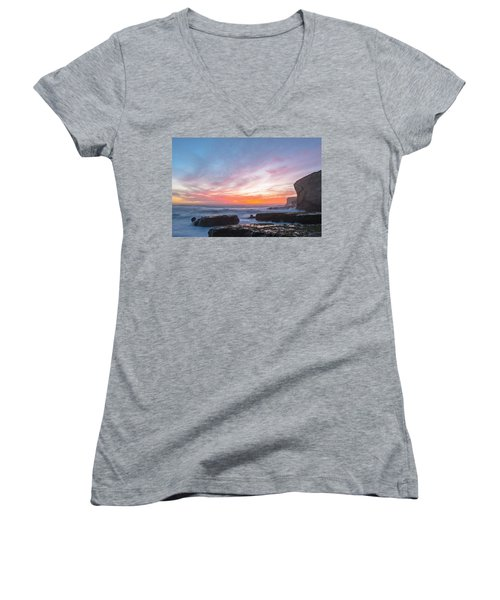 Women's V-Neck T-Shirt (Junior Cut) featuring the photograph Dawn by Catherine Lau