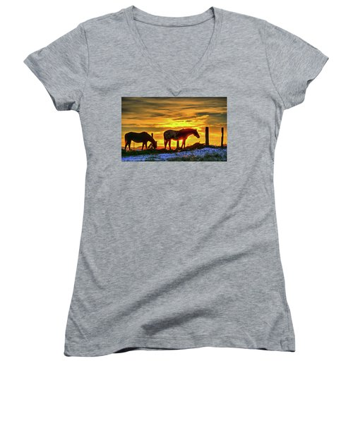 Women's V-Neck featuring the photograph Dawn Horses by Fiskr Larsen