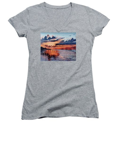 Dawn On Crystal Beach Women's V-Neck